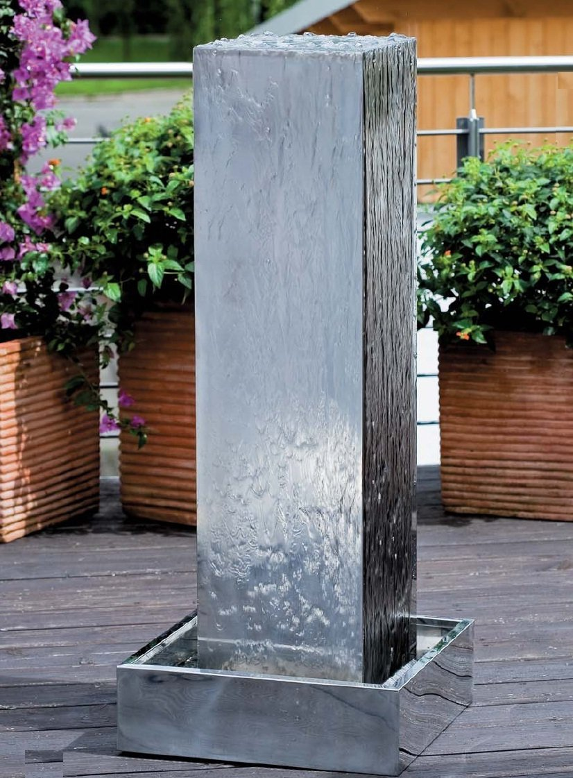 fuente zen para jardin de acero inoxidable kubus - Fuentes Zen