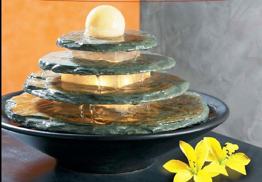 fuente zen de agua de piedra natural con esfera superior