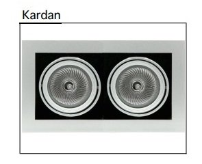 Kardan Multisistema de downlights en acero estampado para 2 lámparas PAR-30. Disponible en gris