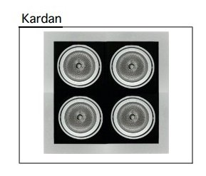 Kardan Multisistema de downlights en acero estampado para 4 lámparas PAR-30. Disponible en gris